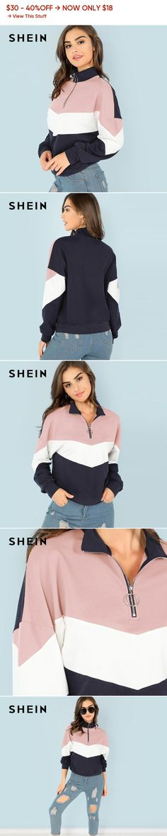 0e1c3295d26 SHEIN Multicolor O-Ring Zip Front Cut and Sew Sweatshirt Athleisure Stand  Collar Raglan Sleeve
