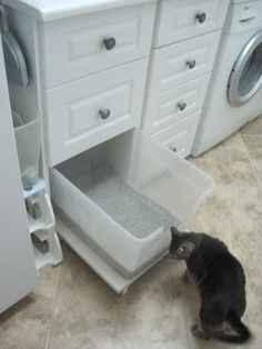A pull-out litterbox in the laundry room … notch allows cat easy entry, pullout makes cleaning staff happy. A pull-out litterbox in the laundry room … notch allows cat easy entry, pullout makes cleaning staff happy. Laundry Room Storage, Closet Storage, Diy Storage, Storage Shelves, Storage Ideas, Laundry Shelves, Cabinet Storage, Room Shelves, Storage Room