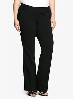 f76688f35a Plus Size Studio Relaxed Trouser Pant - Black Millennium Stretch