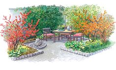 Secluded corner patio screened by slightly raised beds holding small trees with colourful foliage and enhanced by a small rock fountain. Small City Garden, Side Garden, Colorful Garden, Terrace Garden, Raised Garden Beds Irrigation, Hydrangea Care, Replant, Landscape Plans, Outdoor Furniture Sets