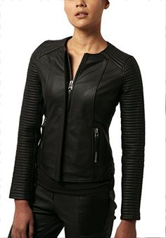 6ae49e3258d Zakiz London Womens Black Leather Jacket Biker Fitted Mot... https