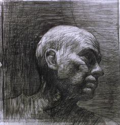 "Bill Murphy , Self, looking left Graphite 17 x 17"""
