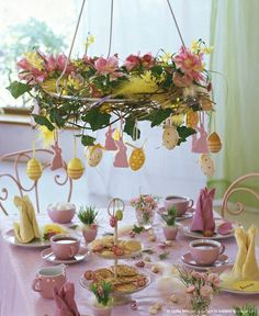 easter spring table decor