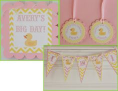 12 Yellow Pink Chevron Rubber Ducky Baby by DreamPartyPaperie