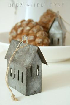 Christmas ornaments. I love the galvanized metal, but you could also use chipboard and faux paint them.