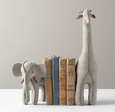 RH Baby & Child's Wool Felt Animal Bookends - Grey Elephant & Giraffe:Decorative as well as functional, our wool felt animals are stuffed and weighted to stand up to a library of books. Decoration Design, Deco Design, Design Design, Design Ideas, Graphic Design, Baby Kind, Baby Love, Rh Baby, Restoration Hardware Baby