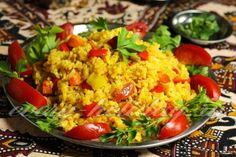 Пряный рис с овощами в духовке