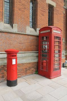 Victorian Pillar Box and Red Telephone Box outside the RSC, Stratford-upon-Avon. June 2013.