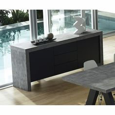 Shop AllModern for stylish sideboards and buffets. Store your extra table linens, dinnerware, and flatware in a modern kitchen buffet and expand your storage options! Narrow Sideboard, Sideboard Modern, Sideboard Buffet, Credenza, Concrete Furniture, Furniture Design, Italian Furniture, Modern Table, Cool Chairs