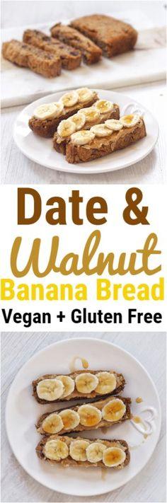 Date and Walnut Vegan Banana Bread #bananabread #date #walnut #healthy #vegan #glutenfree #recipe #dessert #breakfast #bread #sweetloaf