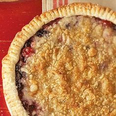 cherry berry berry pie...red raspberries and blueberries join ruby-red cherries in cherry berry berry pie, a favorite from sweetielicious bakery cafe in deWitt, michigan...the trio yields a dark, rich filling crowned with a crunchy streusel topping