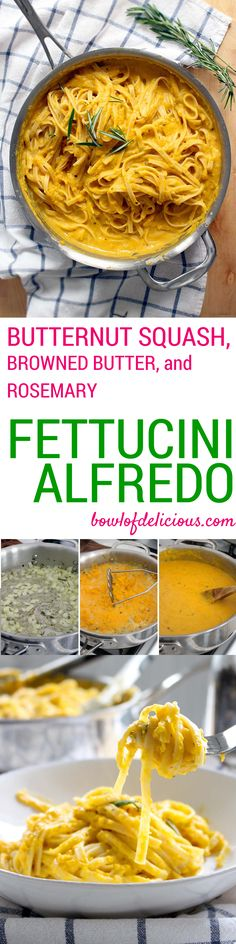 This creamy butternut squash pasta sauce is rich, earthy, and aromatic, with fewer calories than traditional Alfredo sauce! A healthy alternative to Fettucini Alfredo. Fettucine Alfredo, Alfredo Sauce, Butternut Squash Pasta Sauce, Spaghetti Squash, Pasta Recipes, Cooking Recipes, Cooking Games, Vegetarian Recipes, Healthy Recipes