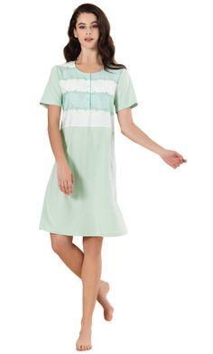 Linclalor Italian Cotton Banded Nightdress - Blue or Green - 10 to 26 Pyjamas, Pjs, Green Shorts, Nightwear, Simple Designs, Soft Fabrics, Kimono, Cold Shoulder Dress