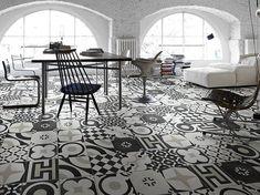 Porcelain stoneware floor tiles Cementine Black Ceramika Fioranese