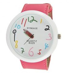 $3.29 WoMaGe Chic Pencil Shaped Hour Hands Style Quartz Wrist Watch with White Dial for Women - Hot Pink