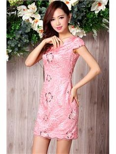 Modern Style Oriental Beading V-Neck Column Cheongsam Dress