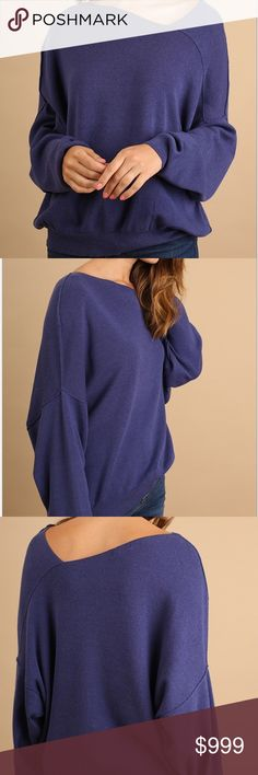 """NWT Oversized Dolman Sleeve Asymmetrical Sweater NWT.   Asymmetrical neckline with dolman sleeves.  In Ink (purple/blue).  Can be worn on or off the shoulder.  Oversized, rubbed hem and cuffs, very soft.  Cotton/Polyester.  Approx measurements laying flat: SMALL chest 23"""", length 25"""" MEDIUM chest 24"""", length 25.5"""" LARGE chest 25"""", length 27"""".  When purchasing order your regular size. Sweaters"""