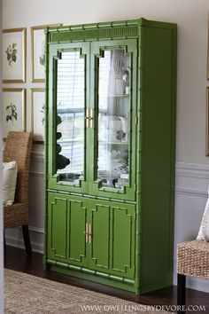 Dwellings By DeVore: Bamboo Hutch Makeover Painted China Cabinets, Furniture, Furniture Makeover, Home, Green Painted Furniture, Discount Furniture, Painted Bamboo, Furniture Inspiration, Bamboo Furniture Diy