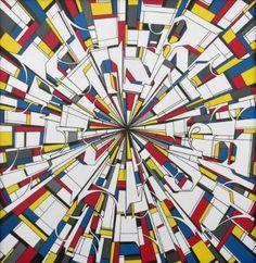 "Saatchi Art Artist Alberto Silva; Painting, ""The running canvas - Milano subways. Tribute to Mondrian."" #art"