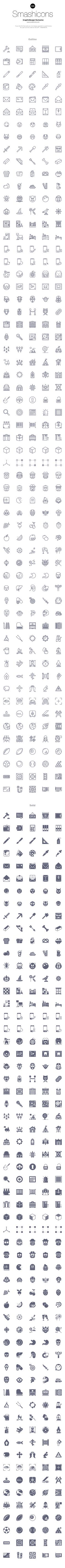I'm glad to share with you another free set of Smashicons, this one including 300 pixel perfect icons in 4 styles...