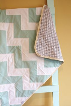MINT Chevron GEOMETRIC zig zag quilt by PETUNIAS blanket crib nursery decor baby shower gift newborn photo prop hipster modern chevron gray
