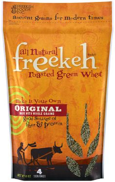 "If our package of roasted ancient grain freekeh could talk it would say ""So I heard you finally got rid of the rice! Invite home for dinner tonight, I want to meet the veggies."""