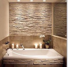 Bathroom stone wall and tile around the tub - Model Home Interior Design Bathroom Design Small, Bathroom Layout, Bathroom Designs, Bathroom Ideas, Bedroom Floor Tiles, Stone Bathroom, Concrete Bathroom, Patio String Lights, The Door Is Open