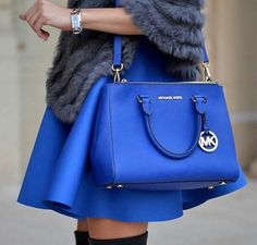 Sapphire blue MICHAEL Michael Kors Sutton bag for spring style. #michaelkors