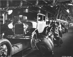 Description of . 1932 Ford Model A on the assembly line at the Rouge Plant in Dearborn, MIch., in (AP Photo/Ford Motor Co. Vintage Cars, Antique Cars, Vintage Auto, Vintage Stuff, Volkswagen New Beetle, Assembly Line, Ford Classic Cars, Car Ford, Ford Trucks