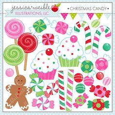 Christmas Candy Cute Digital Clipart  by JWIllustrations on Etsy, $5.00