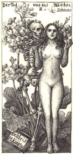 Bookplates, Ex Libris, from the collection of Richard Sica. Death and the Maiden. Ex Libris, Memento Mori, Illustrations, Illustration Art, Hans Baldung Grien, La Danse Macabre, Dance Of Death, Arte Obscura, Drawn Art