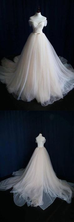 Ball Gown Tulle Sweetheart Lace up Bowknot Wedding Dresses WD200 #ballgown #tulle #weddings #weddingdress #dress #pgmdress
