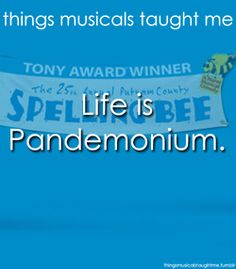things musicals taught me: 25th Annual Putnam County Spelling Bee musical