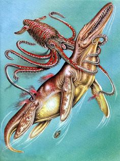 Giant Squid and Kronosaur from Australian Dinosaurs book, by Marilyn Pride.