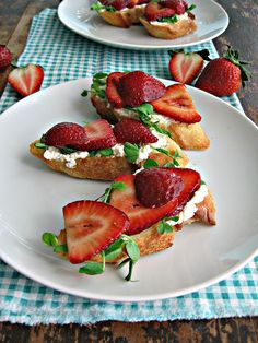 Best Crostini With Pea Shoots And Strawberries Recipe on Pinterest