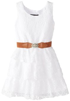 Amazon.com: Amy Byer Little Girls' Sleeveless Tier Dress with Belt: Clothing
