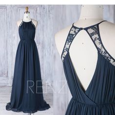 Bridesmaid Dress Navy Chiffon Ruched Top Wedding Dress,Lace Halter Evening Dress,Open Back Prom Dress,A Line Ball Gown Full Length(J230) by RenzRags on Etsy https://www.etsy.com/listing/525260203/bridesmaid-dress-navy-chiffon-ruched-top