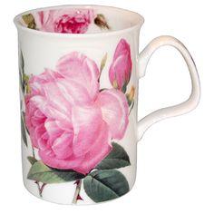 Hrníček na čaj * bílý porcelán s malovanými růžemi.