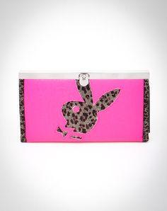 Playboy Leopard Cone Stud Bunny Head Fliplock Wallet