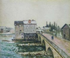The Pont at Moret in Winter - Alfred Sisley - The Athenaeum