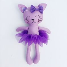 Items similar to Cat doll - fabric doll - baby gift - kitty doll - girls room decor - girls toy - plush cat - ballerina - plush - kitty cat on Etsy Fabric Dolls, Paper Dolls, Doll Toys, Baby Dolls, Sewing Crafts, Sewing Projects, Unicorn Doll, Cat Doll, Animal Pillows