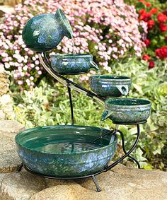Loving this Iridescent Cascade Solar Fountain on #zulily! #zulilyfinds