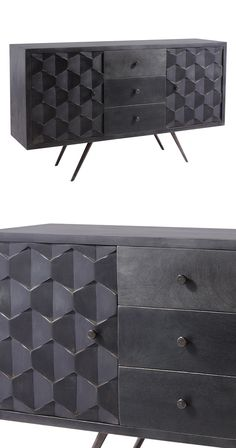 Mid-century modern, back in black. Our handpainted Corbeau Cabinet merges style and storage, featuring tapered legs, functioning drawers, and twin textured doors. Use it to stow dishes, linens, media, ...  Find the Corbeau Cabinet, as seen in the #Mid-Century Monochrome Collection at http://dotandbo.com/collections/mid-century-monochrome?utm_source=pinterest&utm_medium=organic&db_sku=128902