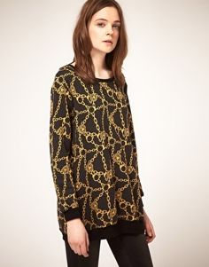 ASOS Tunic Sweater in Chain Print - StyleSays