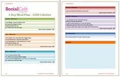 1 Day Meal Plan - 1200 Calories - SocialCafe Magazine - FREE Download or Print :)