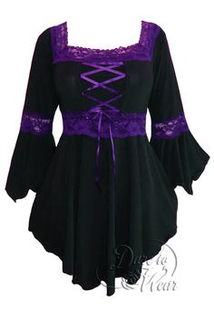 Renaissance corset top in Black with Purple trim.   For more new arrivals visit: http://darefashionusa.com/new-arrivals/
