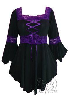 Renaissance corset top in Black with Purple trim.   For more new arrivals visit: http://darefashionusa.com/new-arrivals/