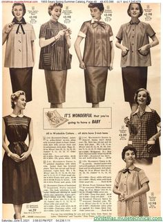 Retro Housewife, Tan Skirt, Fifties Fashion, Christmas Catalogs, Maternity Dresses, Chambray, Smocking, Gingham, Ted