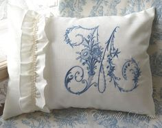 Custom Embroidered Victorian Monogram French Moiré Pillow or Cushion Cover  www.chantillydreams/com