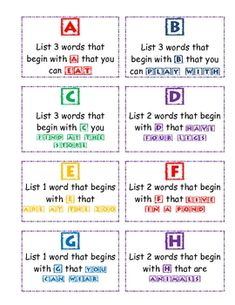 Lists: This is an activity that can be used in small groups or in a writing station.   Each letter of the alphabet has directions to write a small list ab...